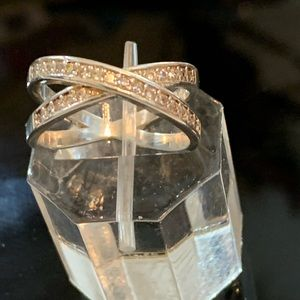 14 kt gold clad ring with diamondique gems size 7